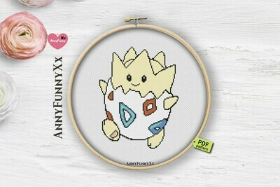 Togepi Pokemon cross stitch pattern PDF, Pokemon Go