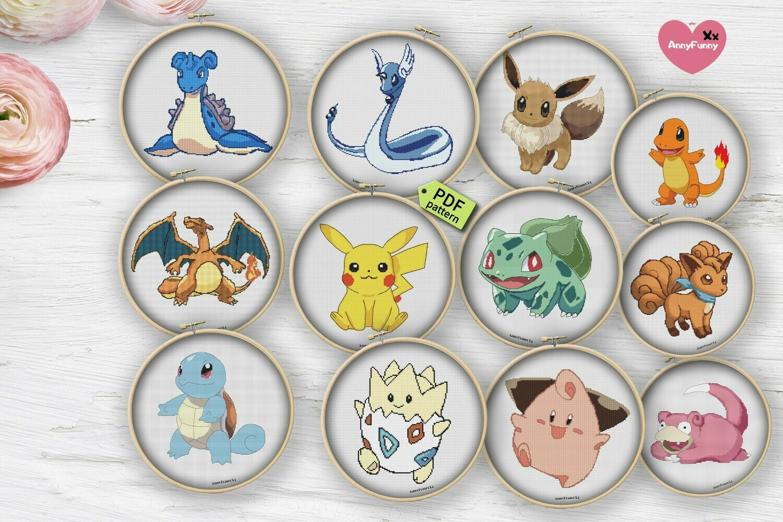 Pokemon cross stitch pattern  PDF Pokemon Go easy cross stitch