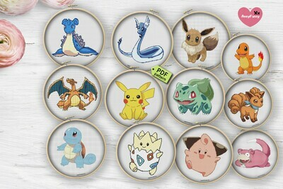 Pokemon cross stitch pattern  PDF Pokemon Go easy cross stitch