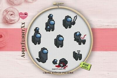 Among us cross stitch pattern PDF