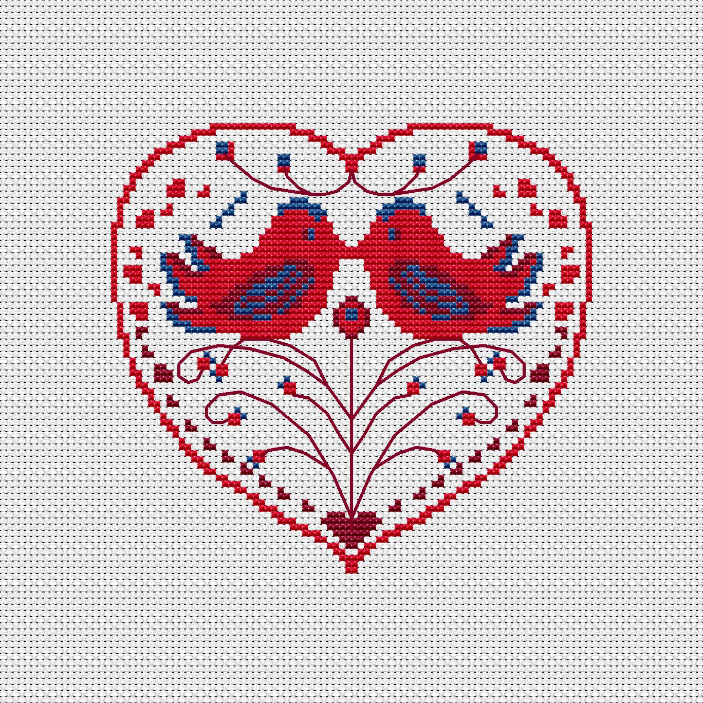 Scandinavian folk art style cross stitch pattern