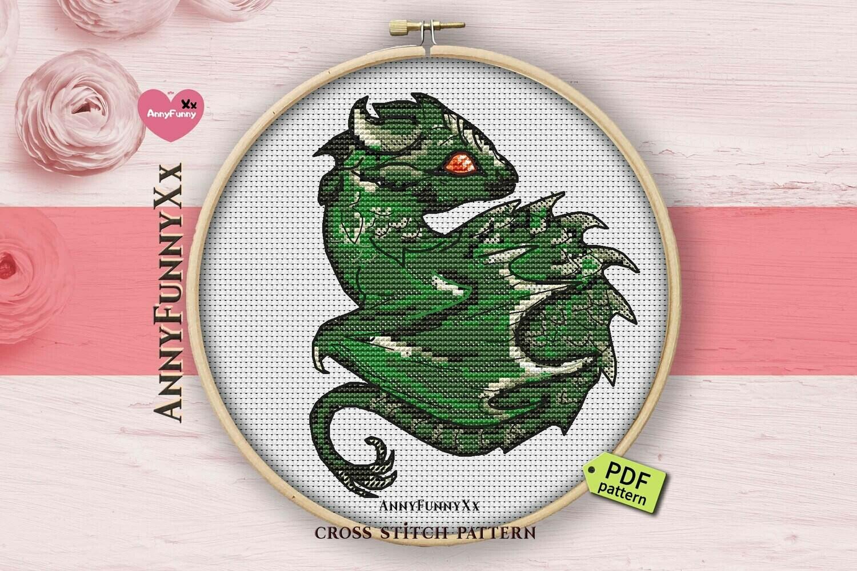 Small Dragon cross stitch pattern pdf, Fantasy Cross Stitch Chart