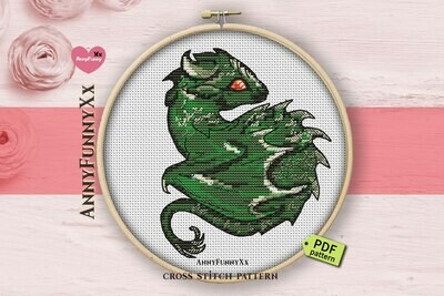 Small Dragon cross stitch pattern pdf, Fantasy Cross Stitch Chart