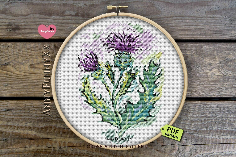 Scottish thistle cross stitch pattern PDF