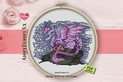 Dragons cross stitch patterns PDF, Dragon cross-stitch