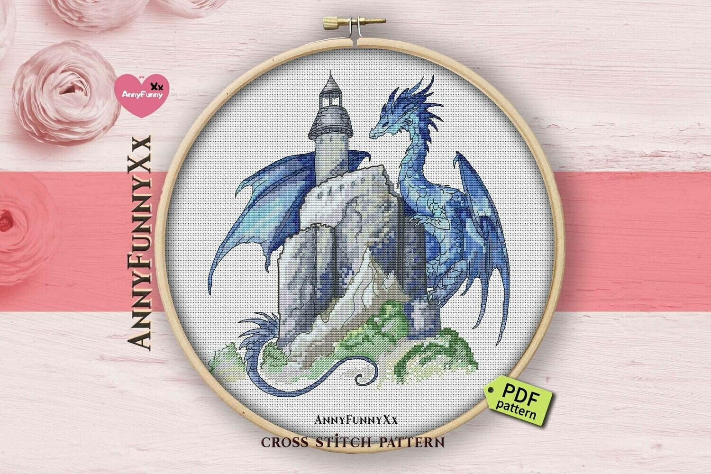 Blue dragon castle cross stitch pattern PDF, Dragons fantasy art design, Magic design