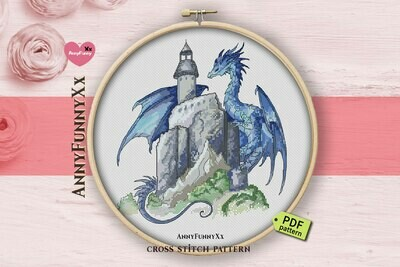 Blue dragon castle cross stitch pattern PDF, Dragons fantasy art design, Magic design