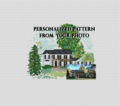 Personalized custom house portraits cross stitch pattern PDF