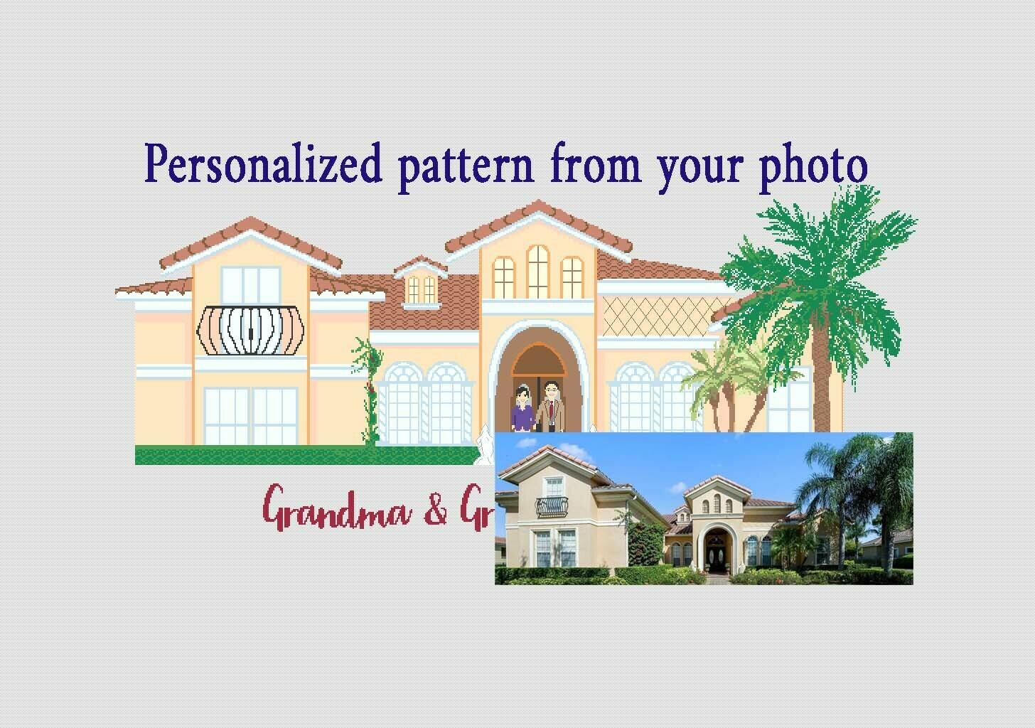 Personalized custom house portraits cross stitch pattern PDF