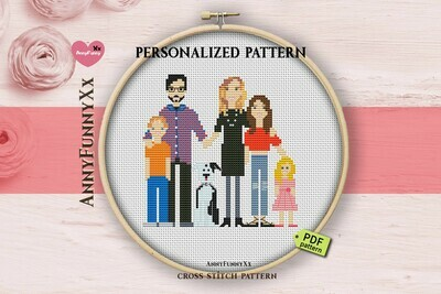 Personalized custom family portrait cross stitch pattern PDF