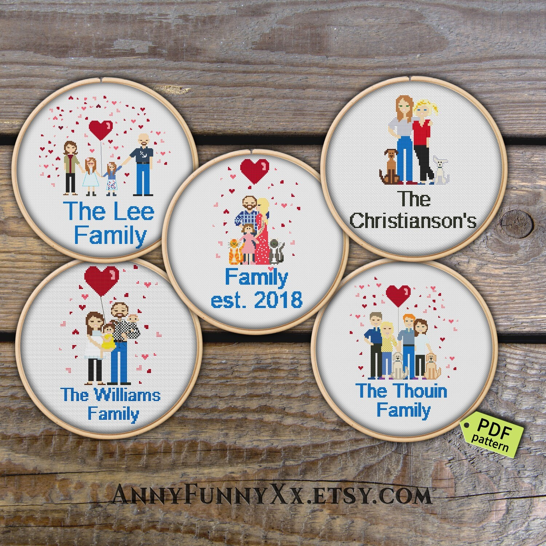 Personalized custom family portrait cross stitch pattern PDF