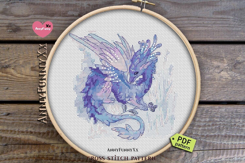 Cute dragon cross stitch pattern PDF Tiny purple dragons