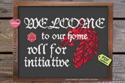 Cross stitch pattern PDF, Roll for initiative, Welcome to our home Xstitch Needlepoint embroidery design handmade DIY