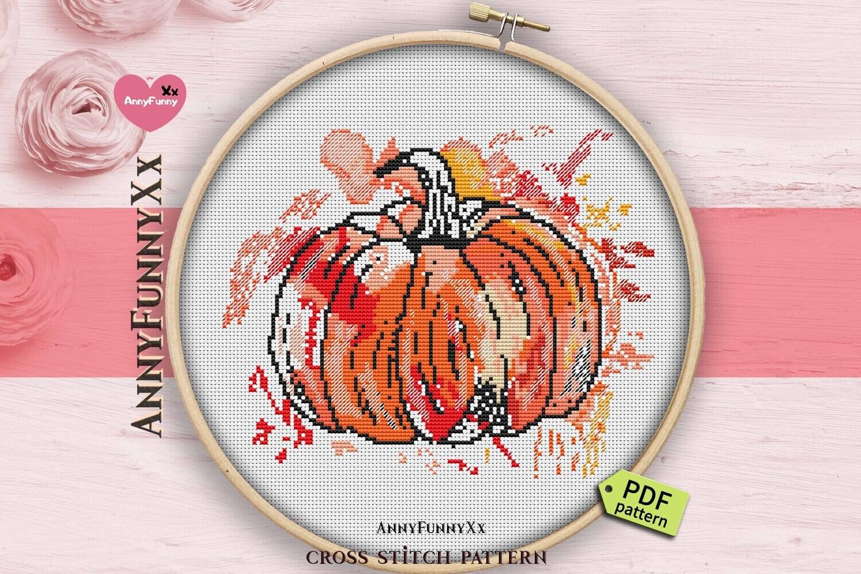 Pumpkin cross stitch pattern PDF, Autumn Cross Stitch Nature Watercolor, Thanksgiving Day embroidery design handmade harvest pumpkin
