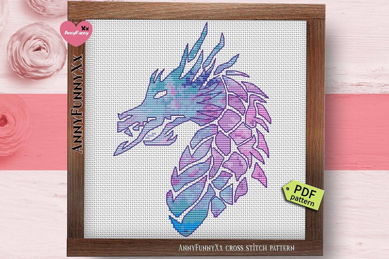 Fantasy Dragon head counted cross stitch pattern PDF Purple magic Needlepoint design Mystic creatures