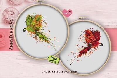 Bird cross stitch pattern bundle Parrot printable PDF
