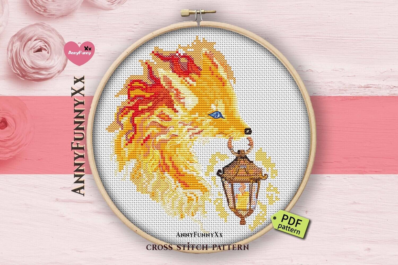 Cute fox cross stitch pattern PDF, Magic Fox, Fantasy fox, Foxy fall cross-stitch, Woodland nursery cross stitch, woodland fox design