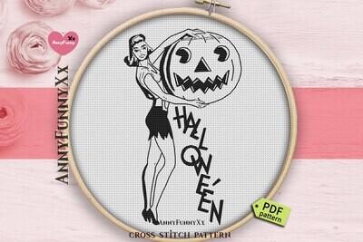 Etsy Halloween cross stitch pattern PDF Vintage style needlepoint Retro counted cross stitch Primitive Halloween needlepoint embroidery design handmade