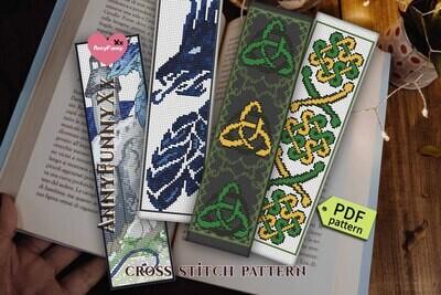 Bookmark bundle Celtic dragon Counted cross stitch pattern PDF, Fantasy bookmark set of 4