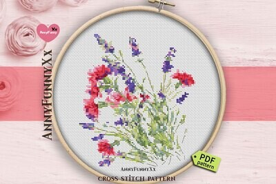 Wildflowers cross stitch pattern PDF flowers Counted Needlepoint embroidery design Wild flower bouquet pes handmade DIY