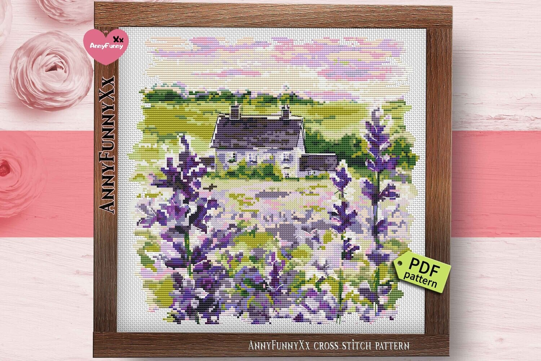 Village Cottage cross stitch pattern PDf Cottedgecore landscape Little house needleworks embroidery design Handmade DIY Lavender