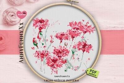Pink flowers cross stitch pattern PDF Watercolor carnation Needlepoint design Handmade DIY