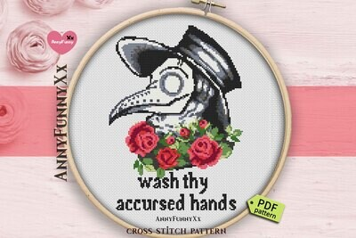 Creepy plague doctor cross stitch pattern PDF  Funny Needlepoint xstitch easy Counted embroidery chart Digital download