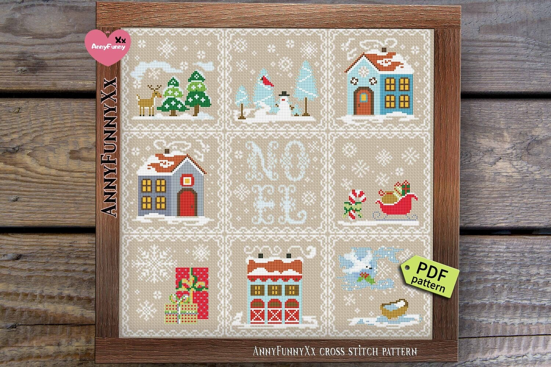 Christmas ornament cross stitch pattern pdf Primitive sampler patterns