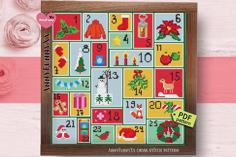 Christmas advent calendar cross stitch pattern PDF