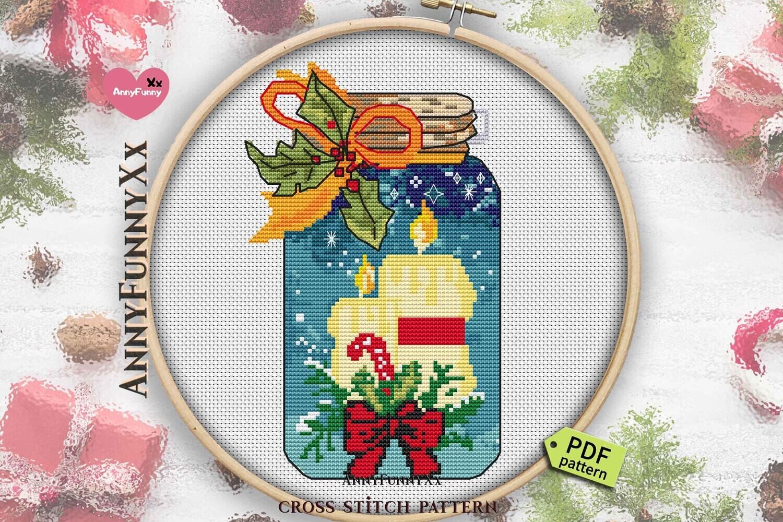 Christmas candle cross stitch patterns Mason jar Counted cross stitch pattern PDF XStitch mini bottle Xmas bottle chart