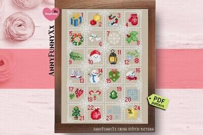 Advent calendar cross stitch pattern PDF Christmas decorations handmade Needlepoint embroidery design
