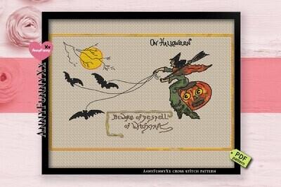 Primitive Halloween cross stitch pattern PDF, witch embroidery design handmade, Vintage style XStitch