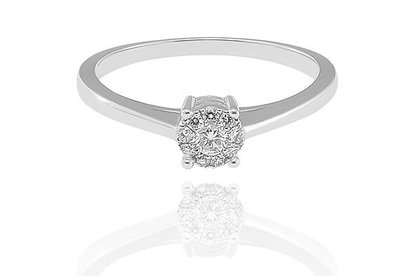 Gemma - White Gold - gyémánt eljegyzési gyűrű