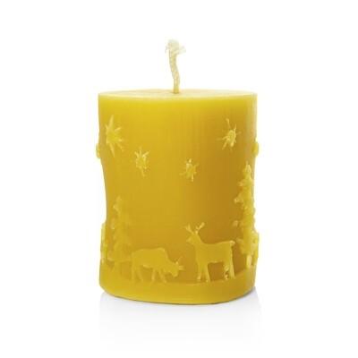 Bienenwachs-Kerze (Stumpenkerze Weihnacht)