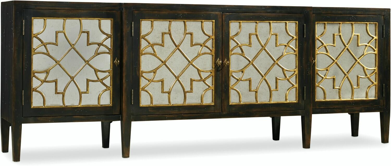 Four Door Mirrored Console- Ebony