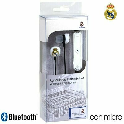 Auriculares Stereo Bluetooth Deportivos Universal Licencia Fútbol Real Madrid