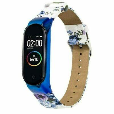 Correa Xiaomi Mi Band 3 / Mi Band 4 Piel Estampado Flores Azul + Carcasa Metálica