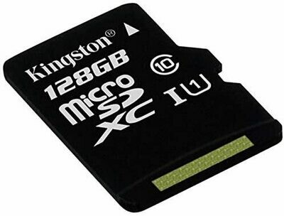 Tarjeta Memoria Micro SD con Adaptador x128 GB Kingston (Clase 10)