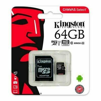 Tarjeta Memoria Micro SD con Adapt. x64 GB Kingston (Clase 10)