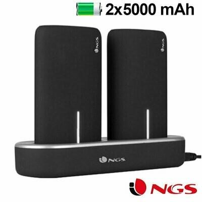 Bateria Externa Micro-usb Power Bank 5000 mAh x2 uds + (Estación de Carga Magnética) NGS