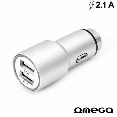 Cargador Coche Universal Doble Entrada USB Metálico 2 x USB Omega 2.1 Amp Plata