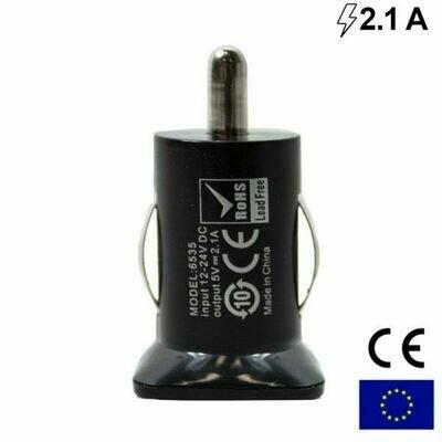 Cargador Coche Universal Doble Entrada Usb COOL Compacto Negro (2.1 A)