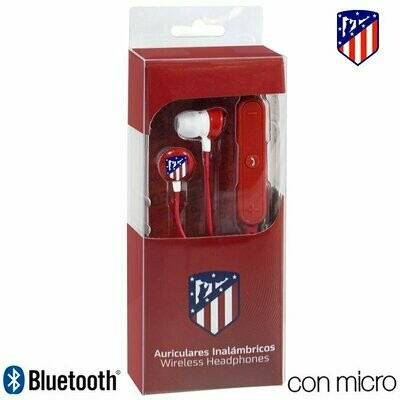 Auriculares Stereo Bluetooth Deportivos Universal Licencia Fútbol Atlético de Madrid