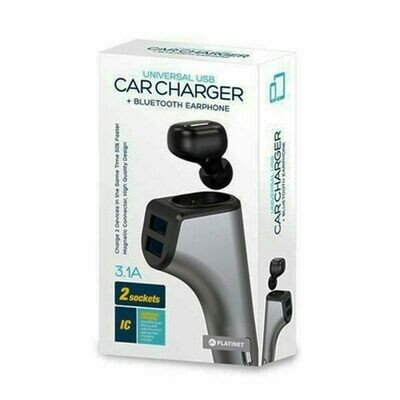 Cargador Coche Universal Platinet Entrada Usb 3.1Amp 2XUSB + Auricular Bluetooth