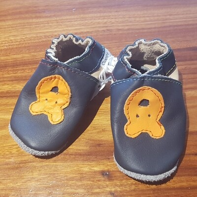 Navy Leather Shoe with Orange Bear