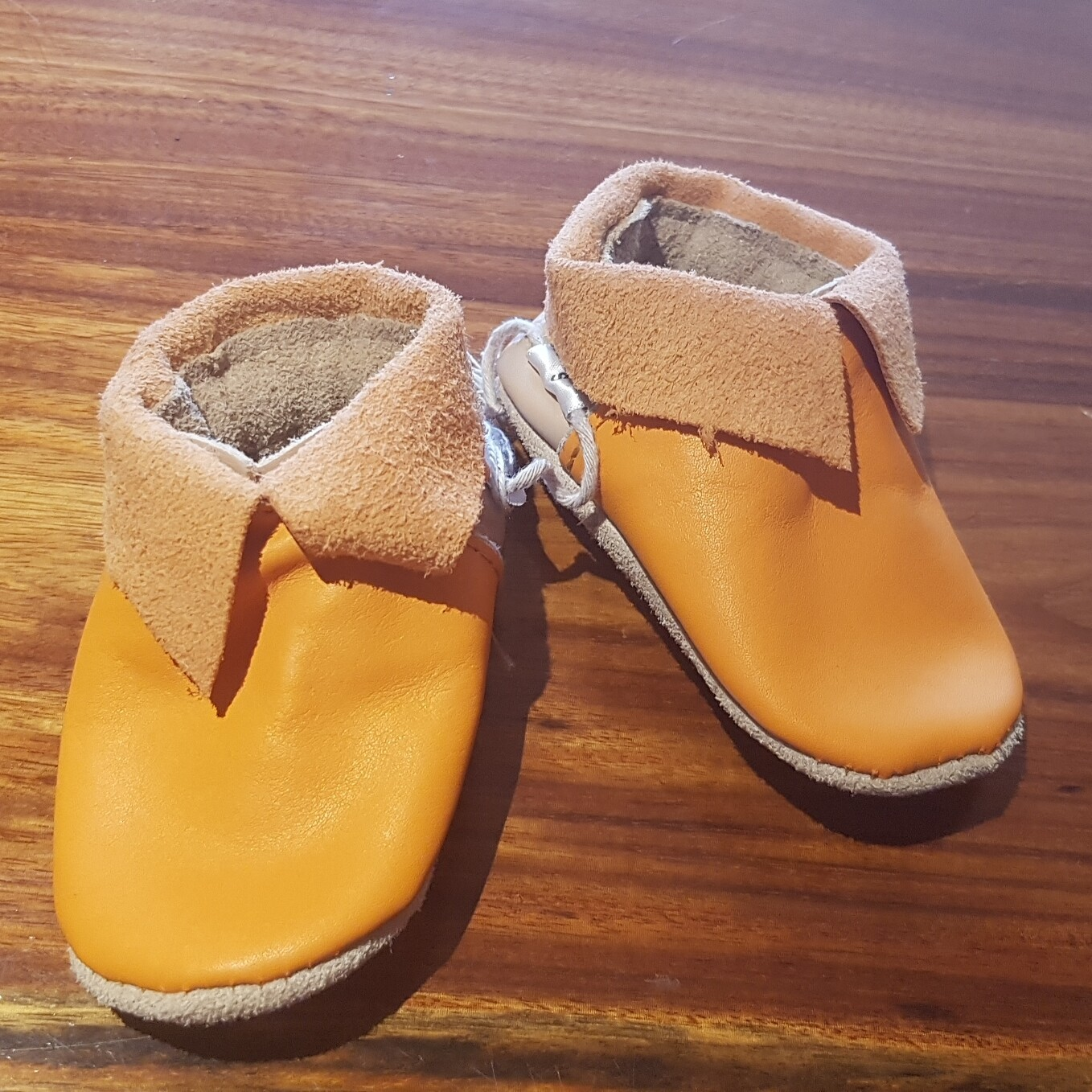 Orange Leather Shoes with cuff