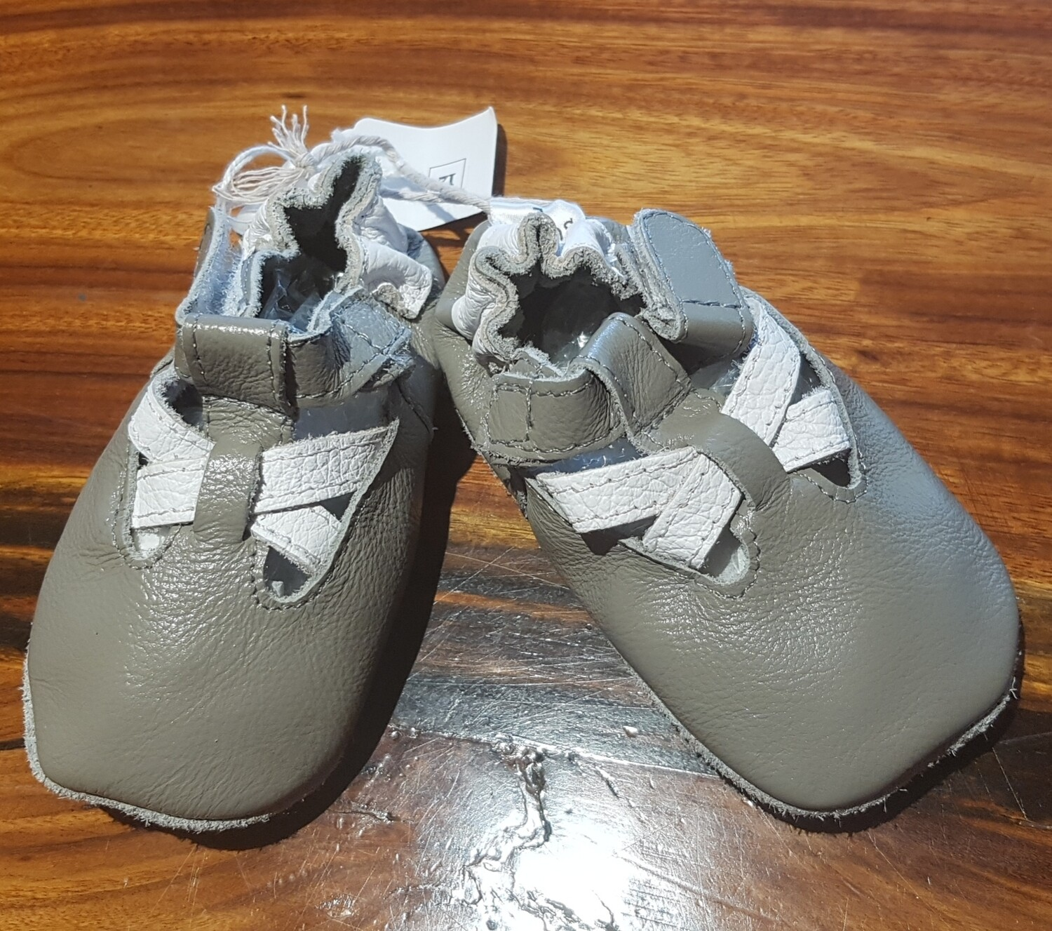 Grey Leather sandal with White Straps