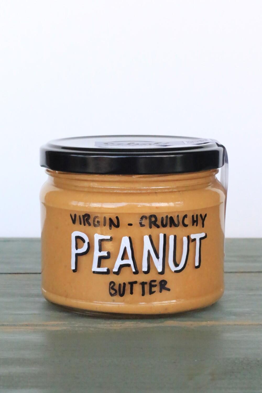 Peanut Butter Virgin Crunchy دهن ازبدة الفول السوداني عادي مقدد (Jar) - Celine Home Made Delights