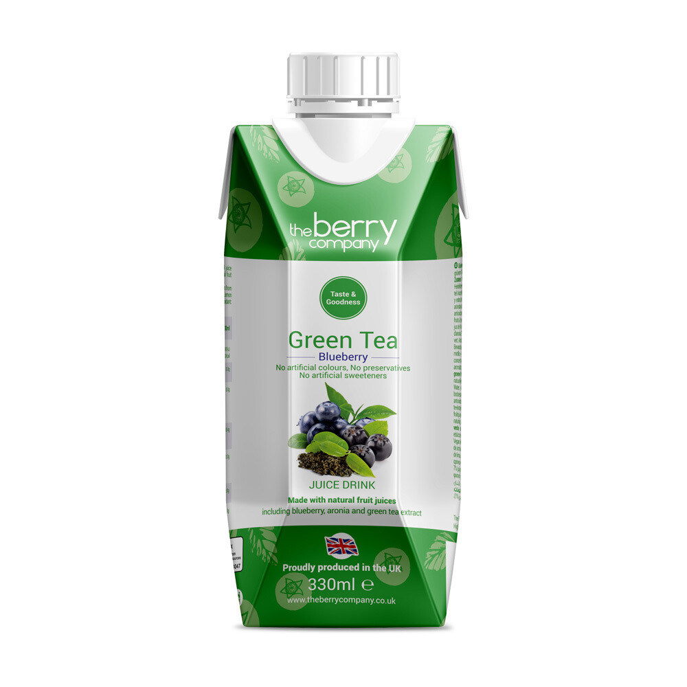 Green Tea and Blueberry Juice شاي أخضر وعصير توت (Bottle) - The Berry Company