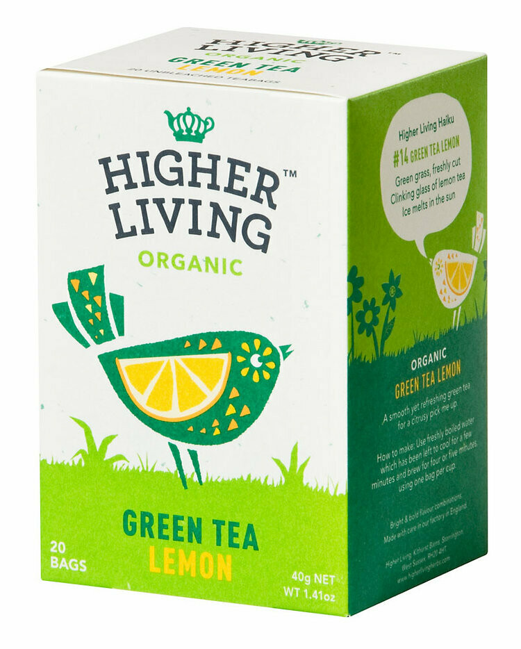 Green Tea Lemon Enveloped Teabags شاي أخضر بالليمون (Box) - Higher Living Organic